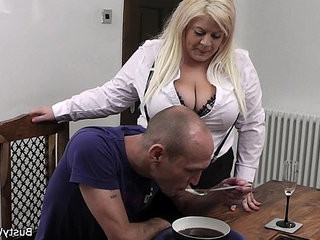 Boss fucks busty amateur blonde secretary in stockings