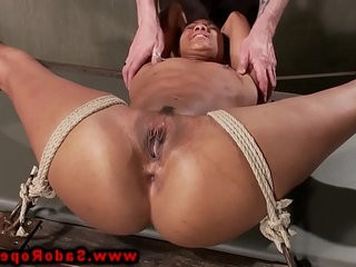 Bondage ebony tied down for pussy play by her master