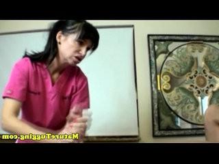 Amateur nurse rubbing patients dick