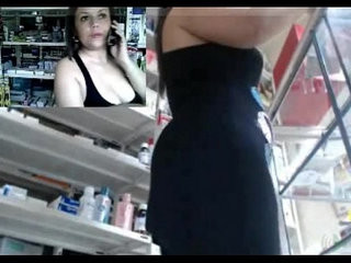 Horny sexy milf working and masturbating at the pharmacy
