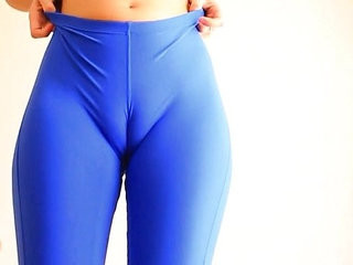 Busty Blonde russian Teen Working Out In Tight Blue Spandex. Bounce!