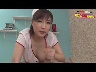 Asian Gives Perfect Footjob, Titsjob and Handjob