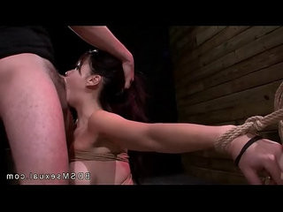Busty tied up asian babe throat and pussy licked and fucked